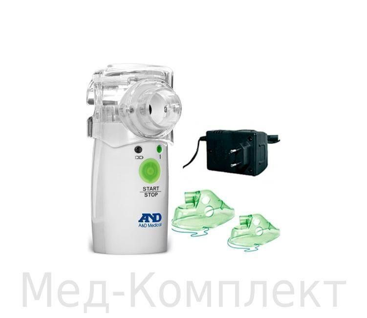 Ультразвуковой ингалятор AND UN-233 (небулайзер) с адаптером и масками.